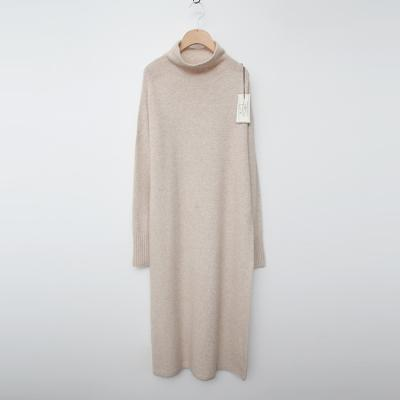 Laine Raccoon Wool Half Turtleneck Long Dress