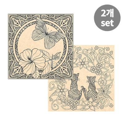 [컬러링 우드캔버스] 꽃과나비+러브캣(11인치)