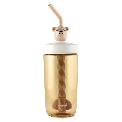 주폴라(Zoopola) 코코아 물병/ 스크류 스트로우 보틀/ 회전 빨대컵 카키