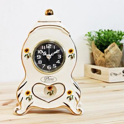 (kgse013 B)도자기 해바라기 캐슬탁상시계