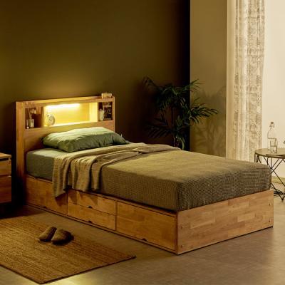 [노하우] 로뎅 LED 고무나무원목 A형 4서랍 침대 SS