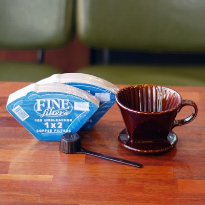 커피한콩 핸드드립세트 (도자기드리퍼+필터200장)