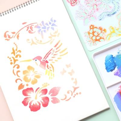 넝쿨 꽃과새 스텐실도안 7종 UATOA006Z