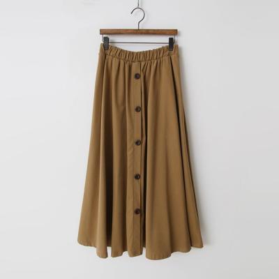 Peach Button Full Long Skirt
