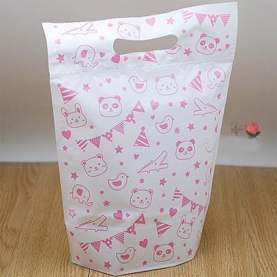 손잡이지퍼백(구김안가는 고급재질) 핑크 - 3장