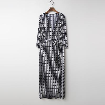 Dot Line Wrap Long Dress