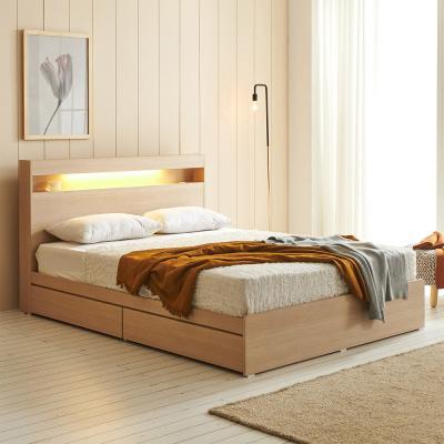에프리 LED침대 서랍형 퀸+본넬 매트리스
