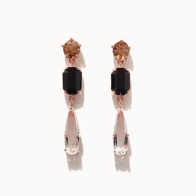 제이로렌 0M02872 얼음꽃 컬러 큐빅 3단드롭 귀걸이