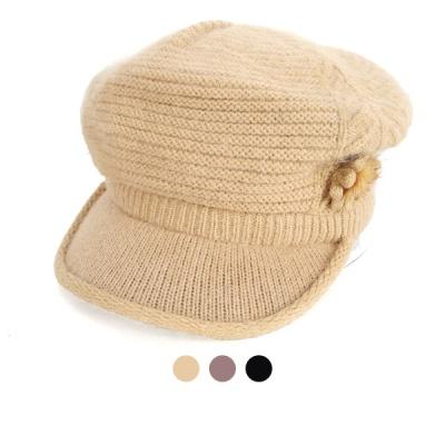 [디꾸보]앙고라 꽃 패치 니트 방한 캡 모자 AC493