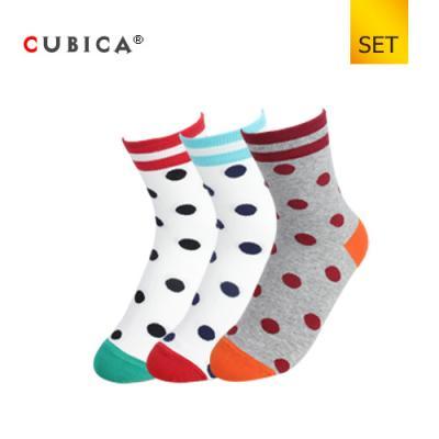 [쿠비카]도트 배색 밴드라인 중목 여성양말 3족 세트 CAS-SCS052 SET