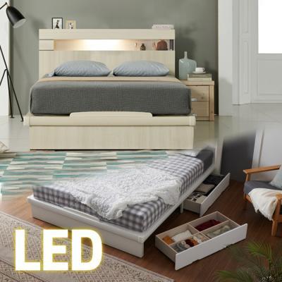 LED조명+콘센트 침대 Q (포켓매트) 65t서랍 KC183