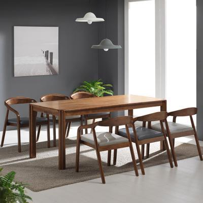 N438 6인 원목 식탁 세트(의자형) 2colors