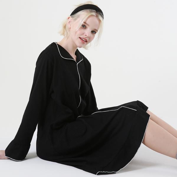 힐링잠옷 모던 플레어 원피스 홈웨어_2color