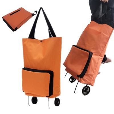 바퀴달린 휴대용 장바구니 오렌지 접이식 카트