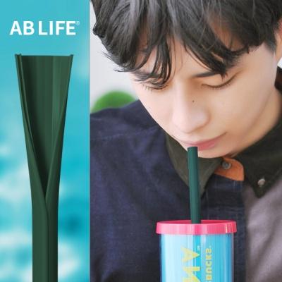 세척솔이 필요없는 재사용 개방형 실리콘빨대 초록색