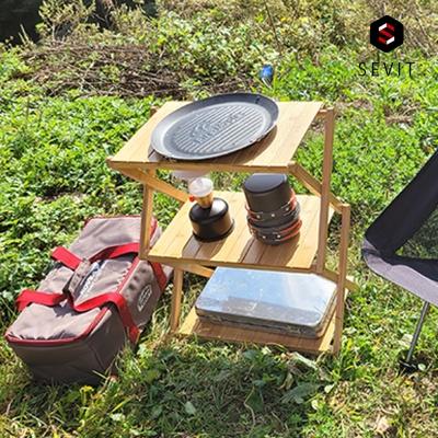 애니클리어 캠핑용 접이식 테이블 원목 3단 4단