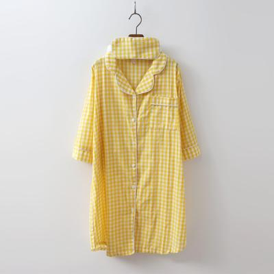 Gingham Shirts Sleep Dress - 안대포함