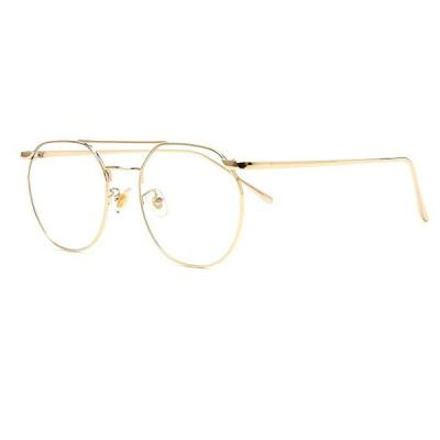shine 두줄 골드 육각형 안경 금속테안경 메탈안경