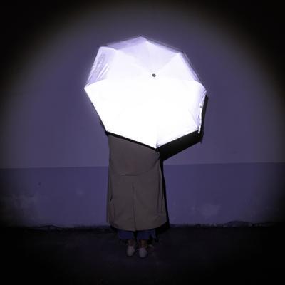 안전한 전면 재귀 반사 우산 리플렛츠 3단 우산