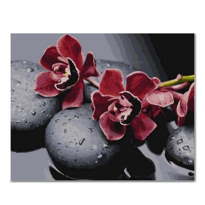 DIY 페인팅 흑돌과붉은꽃 PG52 (50x40)