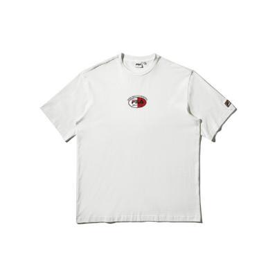 휠라 루즈핏 레트로 로고 반팔 티셔츠 오프화이트