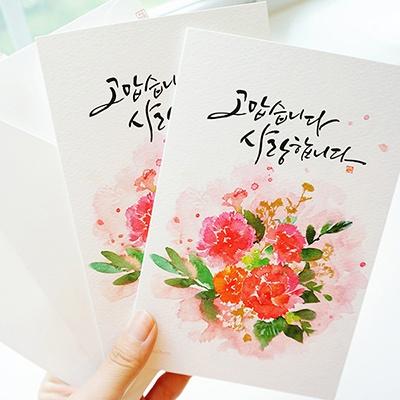 2개 SET] 카네이션 꽃 카드