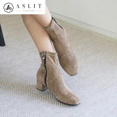 [애슬릿]여성 스웨이드 청키 스판 앵클 부츠 5cm
