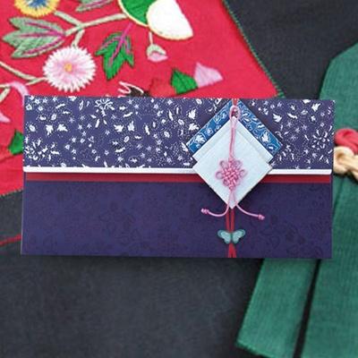 사각보 핑크매듭 전통 용돈봉투 FB217-1