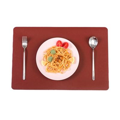 더테이블 가죽 식탁매트 방수 사각 플레이팅(레드)