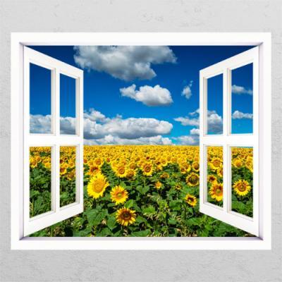 cl889-풍수구름이가득한해바라기꽃밭_창문그림액자