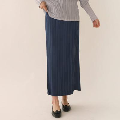 Pleats Button Long Skirt