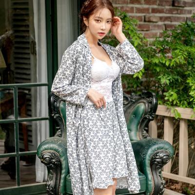 테라우드 여성용 플라워 실키 프릴 5부 바지 잠옷