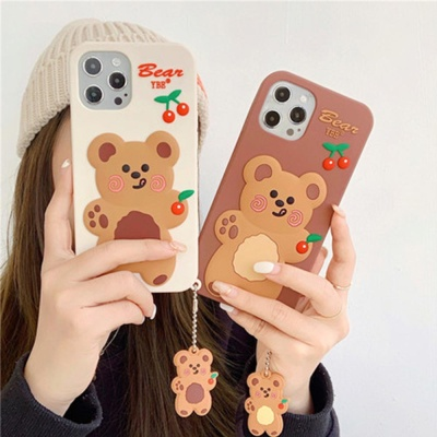 아이폰12 MINI 11 PRO MAX 체리 곰 키링 실리콘케이스