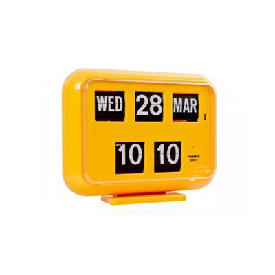 [트웸코] 캘린더 벽 플립시계 QD-35 (Yellow)