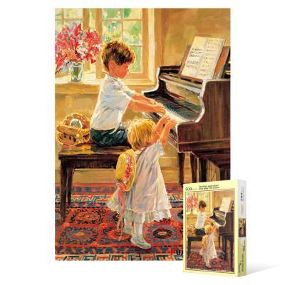 500피스 직소퍼즐 - 피아노 치는 남매