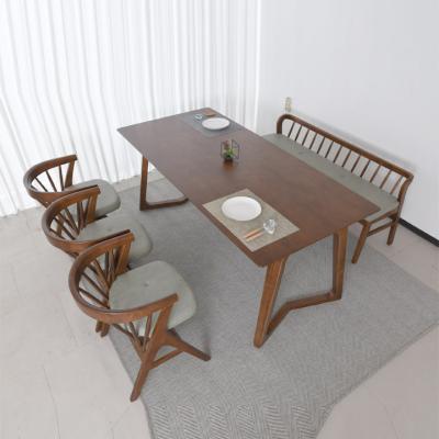 N4127 6인 원목 식탁 세트(벤치형) 2colors