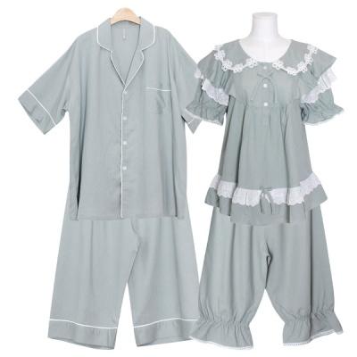 [쿠비카]플라워 레이스 5부 투피스 커플잠옷 WM348