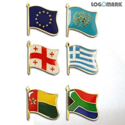 세계각국의 휘날리는 국기뱃지(EU, UN, 그루지아, 그리스, 기니비사우, 남아공)