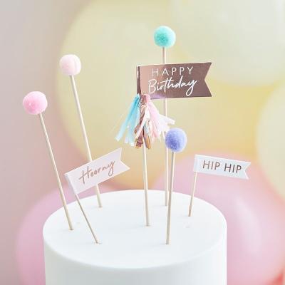 [빛나파티]파스텔 폼폼 생일 케익 토퍼 Cake Toppers