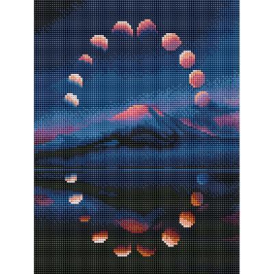 호수에 뜬 달 (캔버스형) 보석십자수 30x40