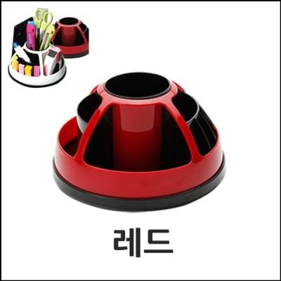360도 회전이자유로운 문구류수납공간 정리홀더-레드