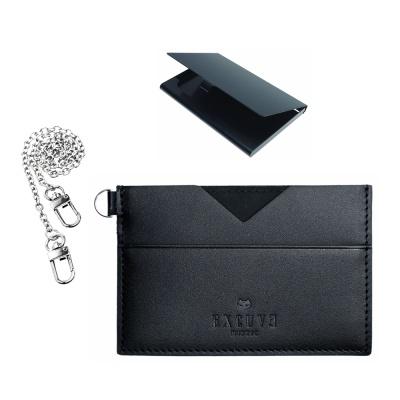 익스큐브 V1 카드지갑 명함케이스 고급체인세트 블랙