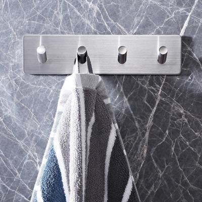 인블룸 접착식 스텐 욕실 다용도 후크 4구