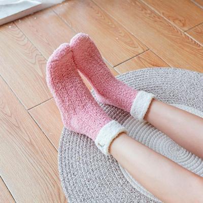 크라운 여성 수면양말(핑크)/ 겨울 보온양말
