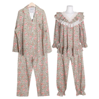 [쿠비카]V넥 이중 프릴 레이스 투피스 커플잠옷 WM299