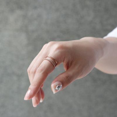 바이데이지 SR076 로즈골드 두줄 큐빅 반지