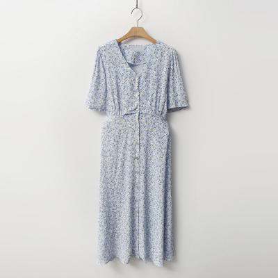 Pure Flower Button Long Dress
