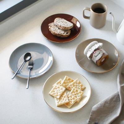 에크렌 골드 림(rim) 원형 접시 소 - 4color