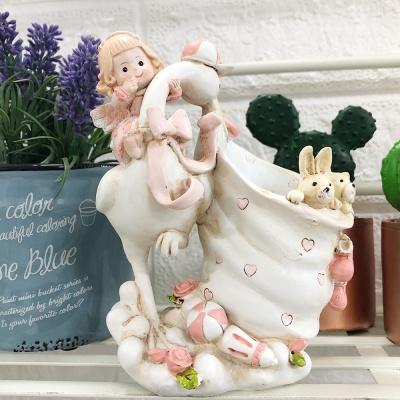 두루미와 아기 천사 장식 꽂이 - 핑크