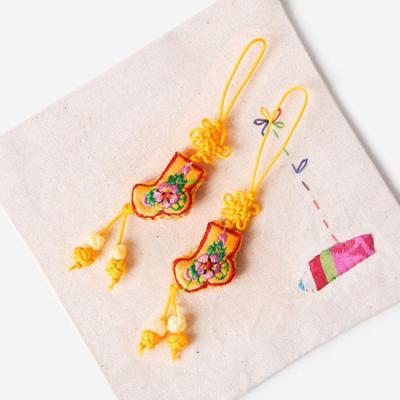 귤색 작은 버선 매듭끈 (3개)